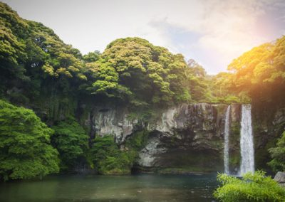 Cheonjiyeon Waterfall is a waterfall on Jeju Island, South Korea